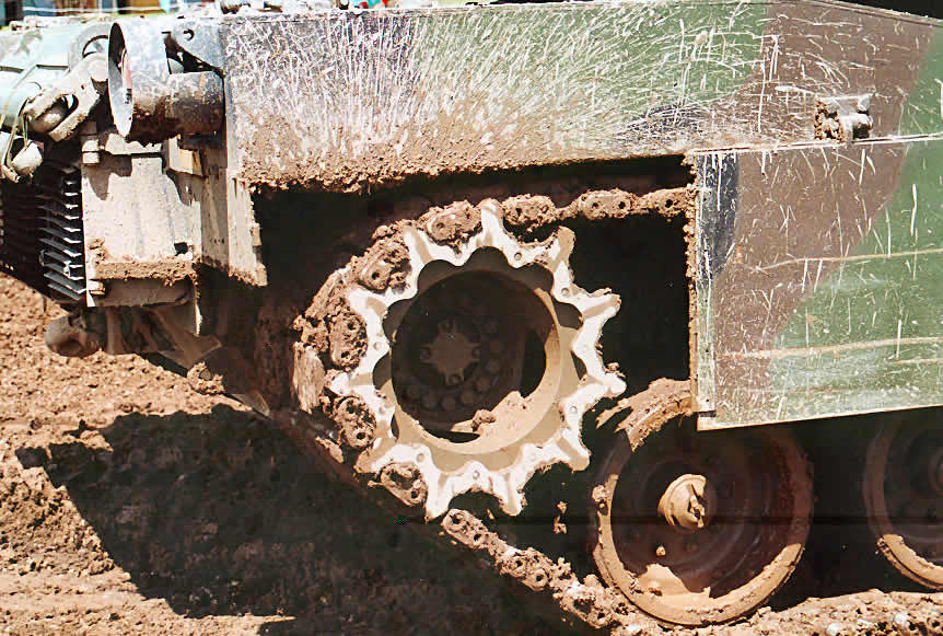 M1 Abrams muddy wheels