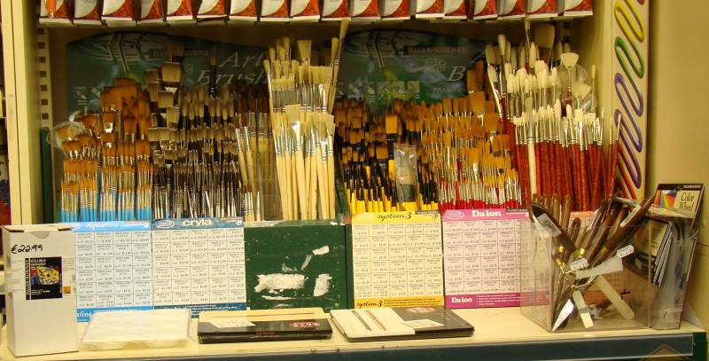 Shop paint brush display